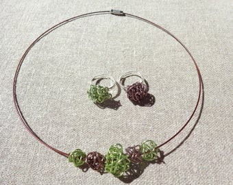 Set necklace and ring set aluminum swirl green and Brown necklace set aluminum
