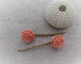 Hair clip flower hair clip pink color rose set of 2