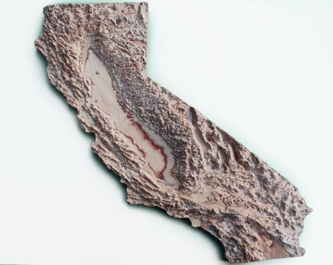 3D wooden Map of California, Map Mall Art in different size, custom 3D Wall Map
