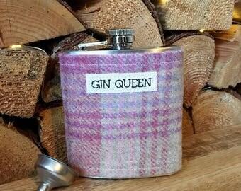 Gin Hip Flask - Gin Lover Gift - Gin Gift -Tartan Hip Flask - Ladies Hip Flask - Pink Hip Flask - Gift for Her - Scottish Gift - Tartan Gift