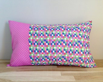 Cushion cover 50 x 30, checkered pink