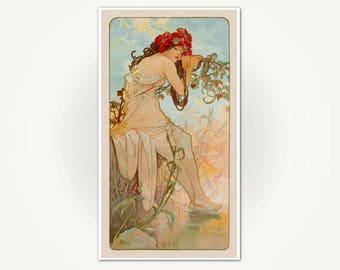 The Summer Poster Print - Alfonse Mucha The Seasons - Art Nouveau Fine Art Print