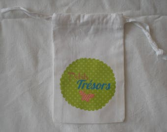 "Printed white cloth bag ""treasures"""