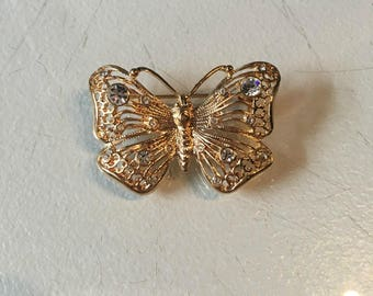 Vintage Gold Tone Butterfly Brooch with Diamond Rhinestone Detail