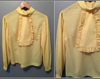 Vintage 1960s Elite Yellow Ruffle Blouse Removable Jabot