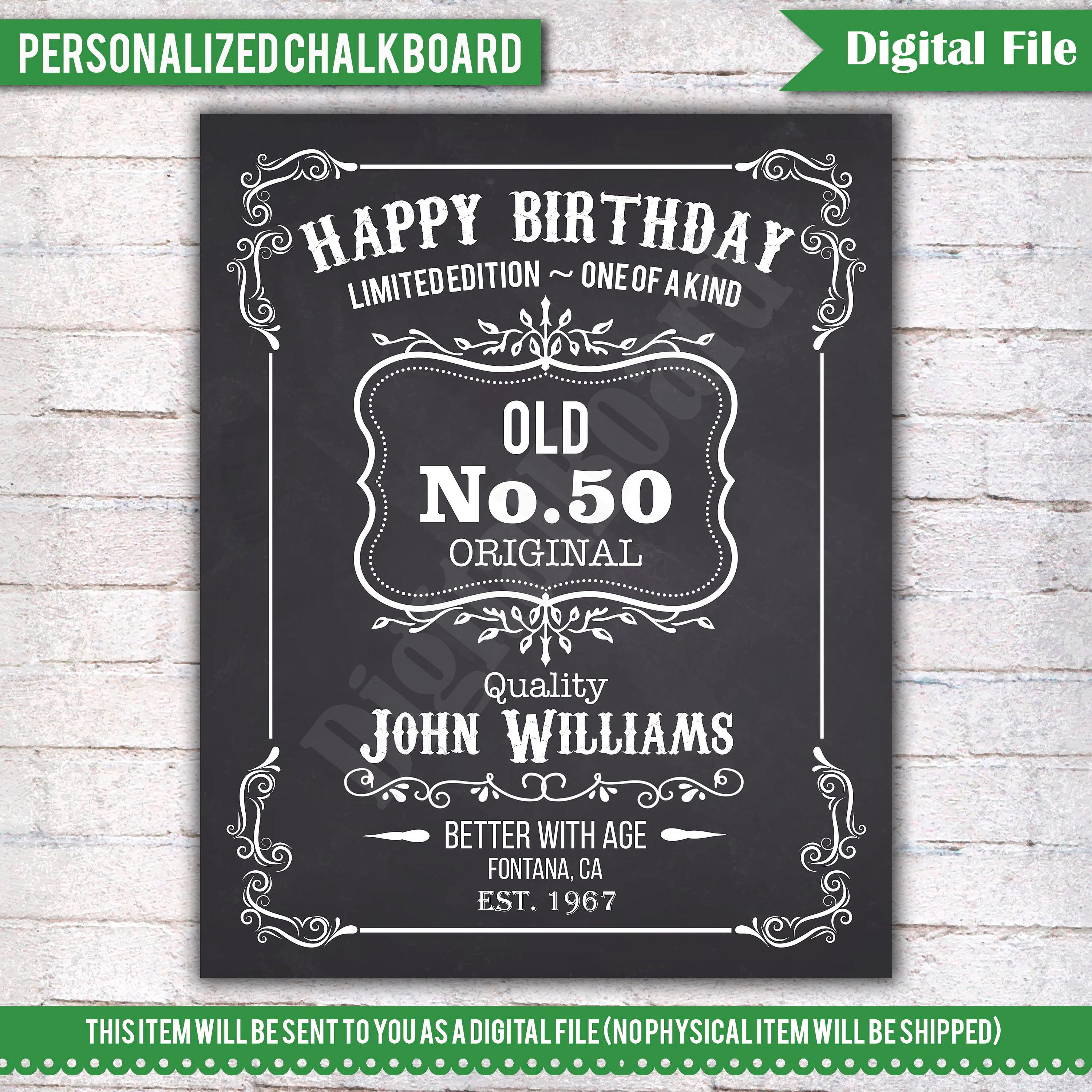 50th Birthday Liquor: Personalized 50th Birthday Chalkboard Sign Birthday Poster