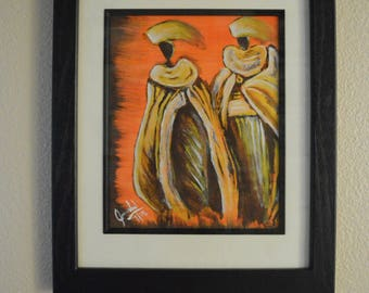 African tribe- hardship  acrylic painting framed. ready to hang.