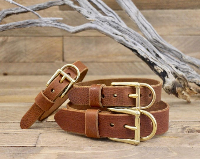 Cowboy brown collar, Dog collars, FREE ID TAG,Brown Collar, Solid brass , Handmade leather collar, Gold Hardware, Dog, Puppy collar, Small.