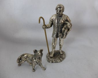Vintage Metal Shepherd with dog Figurine / Ornament