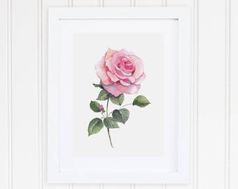 Watercolor Rose Print | Watercolor Pink Rose Painting | Rose Floral Painting | Watercolor Floral Print | Floral Wall Art | Gift for Her