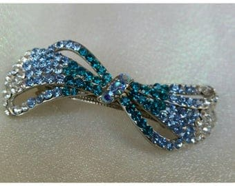 Blue Topaz Turquoise Blue Crystal Hair Barrette * FREE SHIPPING
