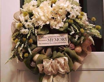 Memorial mesh wreath