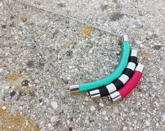 Rope Necklace / Colorful Necklace / Boho Chic Necklace / Statement Necklace / Bib Necklace / Pink Bib Necklace / Color Block Jewelry