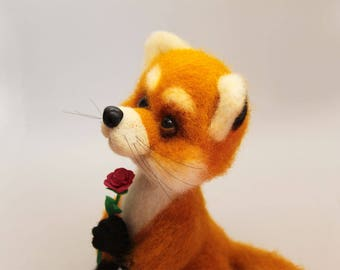 Felted fox Felted animal fox Little prince art Needle felted Fox felt toy Little prince  Fox in little prince The little prince fox toy