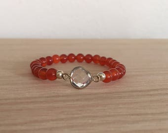 Carnelian & Crystal Quartz bracelet, sacral chakra, healing crystals, creativity, passion, gemstone bracelet, gift for her, Valentines Day
