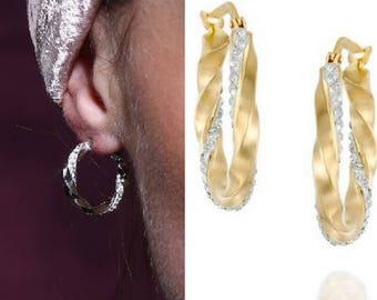 twisted cz gold hoops, twisted hoops, twisted cz hoops, twisted hoop earrings, Dainty earrings, twisted huggie earrings, Tiny  hoop earrings