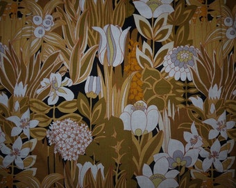 Curtains - 2 panels - Fabric - Woodco Screenprint - Flower -