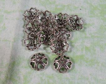 10mm Antique Silver Heart End Bead Caps (B306g)