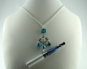 Electronic cigarette or vapor blue turquoise necklace
