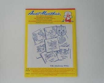 Vintage Aunt Martha's Hot Iron Transfers 9180 Mischievous Kittens Paper Pattern Sealed