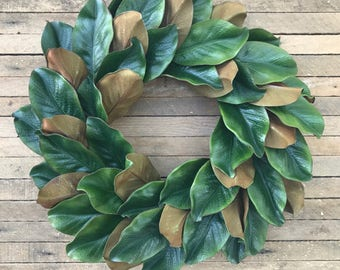 Magnolia Wreath, Fall Wreath, Farmhouse Wreath, Two Toned Magnolia Wreath, Grapevine Wreath, Front Door Wreath, Wall Decor, Winter Wreath
