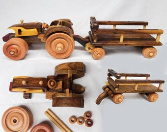 "Wooden toy for kid - Farm truck - 16"" x 6"" x 5"""