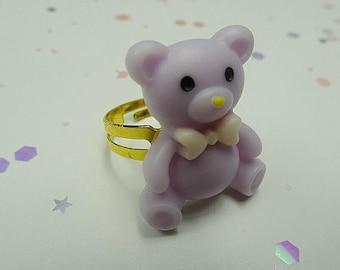 Purple Carnival Bear Ring