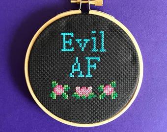 Adult cross stitch - Evil AF cross stitch kit - contemporary stitch - beginner kit - modern cross stitch - counted cross stitch - easy kit