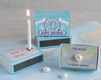 SUMMER SALE Happy 17th Birthday Greeting For Her In A Matchbox - 17th Birthday Card - The World Is Your Oyster - Gift In A Matchbox - Pearl