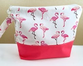 Flamingo Crochet Project Bag - the way you want it - 2 Sizes Customizable