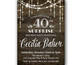 Surprise 40th Birthday Invitation for her, Surprise Party Invitation, Women's 40th Birthday Invite, Western Style, Rustic Birthday Invite