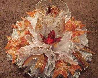 "17"" Fall/Autumn Pumpkin Deco Mesh Centerpiece/Candle Holder  - White"