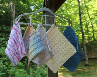 Set of 5 Dishcloths, Crocheted Dishcloths, Knitted Dishcloths, Cotton Dishcloths, Eco-friendly dishcloths