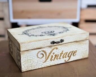 Jewelry box, wanderlust gifts, postcard storage, ivory cream, gift for traveler, keepsake storage, french style, shabby chic, memorial box