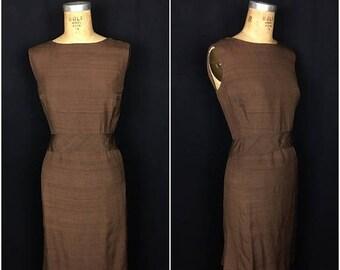 SUMMER SALE 1960s Plus Size Brown Wiggle Dress | 60s Volup Chocolate Brown Sleeveless Secretary Dress
