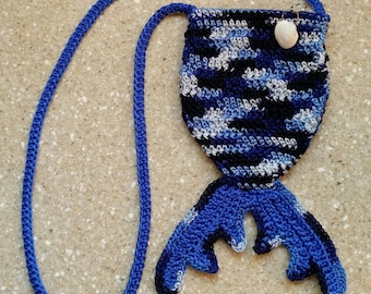Gifts for Her Mermaid Purse Mermaid Tail Bag crochet shades of blue bag