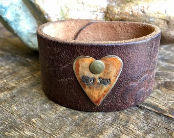 Repurposed leather cuff