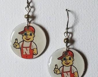 Nebraska Cornhusker earrings, Nebraska Cornhusker jewelry, Herbie Husker, school spirit jewelry