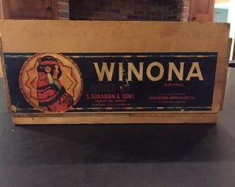 Winona Brand vintage wood fruit crate - S. Surabian and sons growers - Dinuba, CA