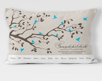Mothers day Gift from Grandchildren and great grandchildren - Grandmother Pillow Gift - Personalized Family Tree Pillow