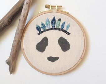 """""""Panda with feathers"""" wall embroidery"""