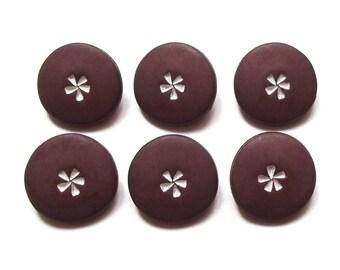 6 buttons round Brown flower white 18 mm