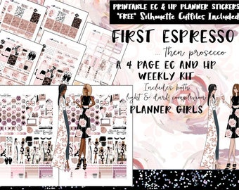 First Espresso Weekly Planner Stickers / Erin Condren weekly kit /Happy Planner weekly kit /Printable Planner Stickers /Silhouette Cut Files