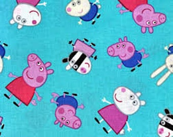 """Peppa Pig and Friends fabric, 43"""" wide, 100% cotton, by the half yard"""