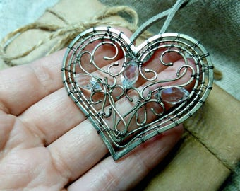 Wire wrapped heart pendant Handcrafted heart with crystals Heart pendant Romantic gift Handmade jwewrly Gift for her German silver