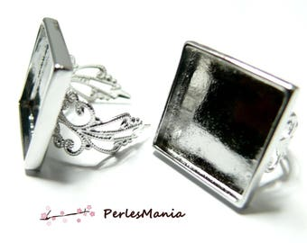 1 ring square 20mm silver plate ring holder lace