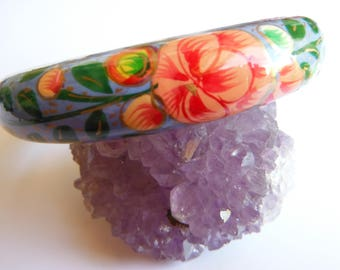 Handpainted, Lacquered Floral Bangle, 1970s, Boho