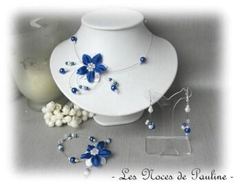 Blue Royal white 10 silk flower wedding set pieces Eva