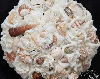 Ivory Seashell Wedding Bouquet Beach Large Bridal Pearls And Crystals