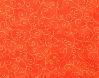 "Moda Basics ""MARBLE SWIRLS""  ~ 9908-14 Orange ~ Tonal Orange with Swirls ~ Half Yard Increments"